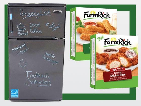 Mini Fridge and Freezer, plus Farm Rich Snacks sweepstakes