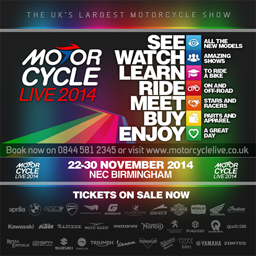 5 Pairs of tickets to Motorcycle Live valid for any day of the show sweepstakes