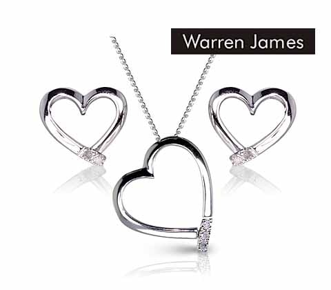 Silver & diamond heart necklace & earring sets sweepstakes