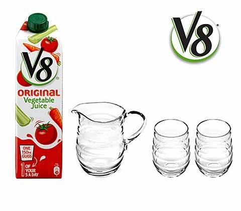 Win 5 x V8 Original Vegetable Juice plus glassware sweepstakes