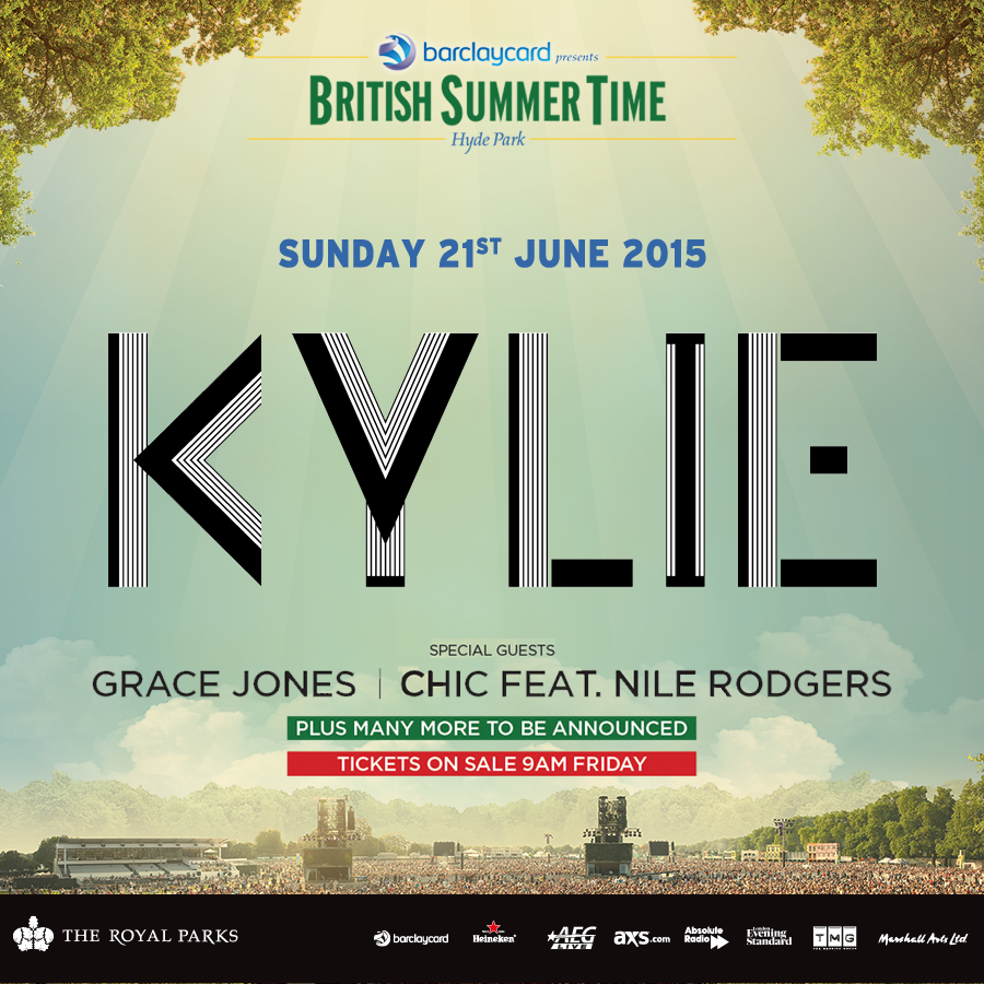 tickets to see Kylie at Barclaycard presents British Summer Time Hyde Park sweepstakes