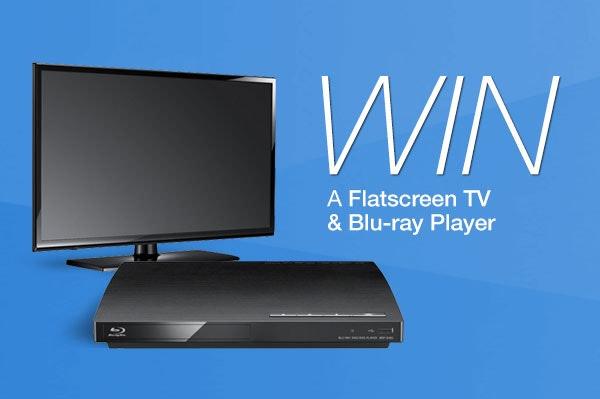 Flatscreen TV, Blu-Ray, and Spongebob Movie DVD sweepstakes