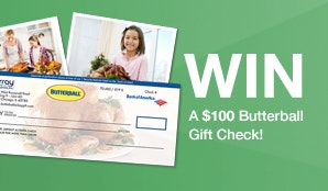 $100 Butterball Gift Check sweepstakes