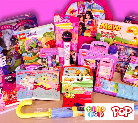 Bundles of toys and goodies from TV channels Tiny Pop and Pop sweepstakes