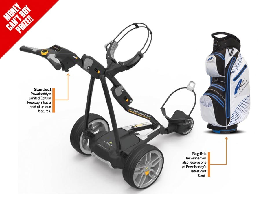 WIN a limited edition Powakaddy Freeway Golf Trolley & Bag sweepstakes