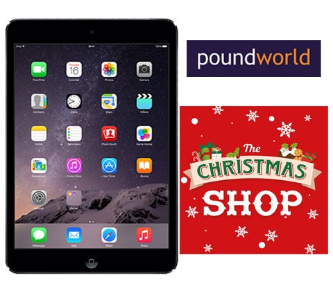 an iPad Mini 2 with Poundworld sweepstakes