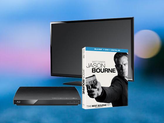 Jason Bourne with Flatscreen TV and Blu-ray Player sweepstakes
