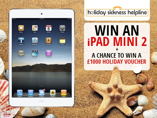 an iPad mini 2 tablet with Holiday Sickness Helpline sweepstakes