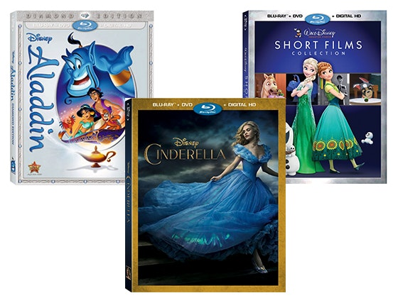 Aladdin, Cinderella, and Disney Short films dvds sweepstakes